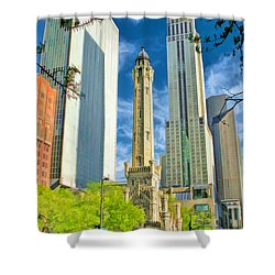 Chicago Water Tower Shopping Shower Curtain by Christopher Arndt