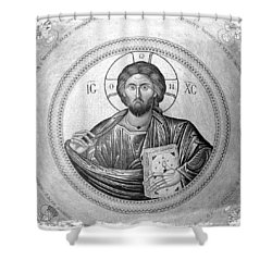 Christ Pantocrator In Black And White -- Church Of The Holy Sepulchre Shower Curtain by Stephen Stookey