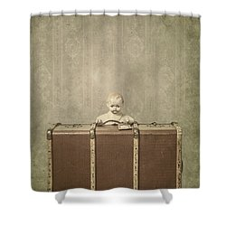 Doll In Suitcase Shower Curtain by Joana Kruse