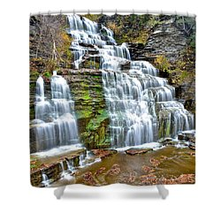 Finger Lakes Waterfall Shower Curtain by Frozen in Time Fine Art Photography