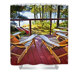 Forest Cottage Deck And Chairs Shower Curtain by Elena Elisseeva