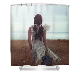 Girl With Suitcase Shower Curtain by Joana Kruse