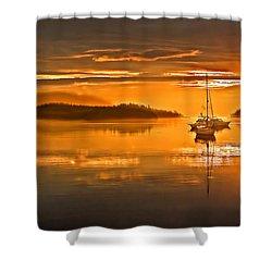 Golden  Sunrise Shower Curtain by Robert Bales