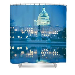 Government Building Lit Up At Night Shower Curtain by Panoramic Images