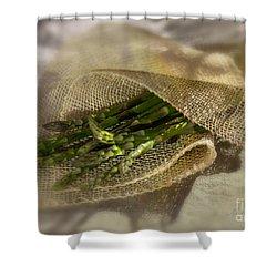 Green Asparagus On Burlab Shower Curtain by Iris Richardson