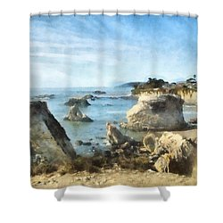 Hazy Lazy Day Pismo Beach California Shower Curtain by Barbara Snyder