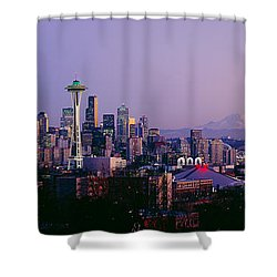 High Angle View Of A City At Sunrise Shower Curtain by Panoramic Images