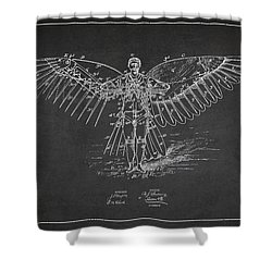 Icarus Flying Machine Patent Drawing Front View Shower Curtain by Aged Pixel