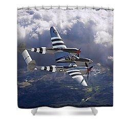 Lockheed P-38 Lightning Shower Curtain by Larry McManus