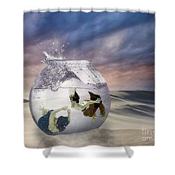 2 Lost Souls Living In A Fishbowl Shower Curtain by Linda Lees