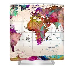 Map Of The World Shower Curtain by Mark Ashkenazi