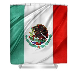 Mexican Flag Shower Curtain by Les Cunliffe