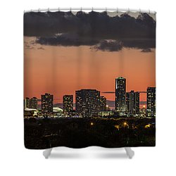 Miami Sunset Skyline Shower Curtain by Rene Triay Photography