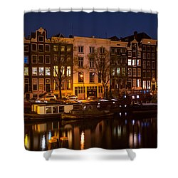 Night Lights On The Amsterdam Canals 7. Holland Shower Curtain by Jenny Rainbow