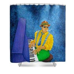 Piano Man Shower Curtain by Pamela Allegretto