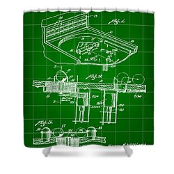 Pinball Machine Patent 1939 - Green Shower Curtain by Stephen Younts