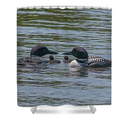 Proud Parents Shower Curtain by Brenda Jacobs