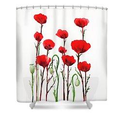 Red Poppies Shower Curtain by Irina Sztukowski