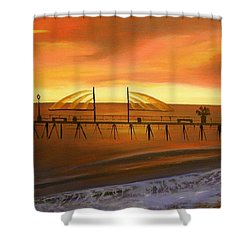 Redondo Beach Pier At Sunset Shower Curtain by Bev Conover