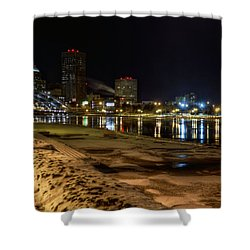 Rochester At Night Shower Curtain by Tim Buisman