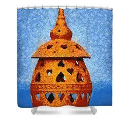Roof Pottery In Sifnos Island Shower Curtain by George Atsametakis