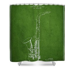 Saxophone Patent Drawing From 1937 - Green Shower Curtain by Aged Pixel