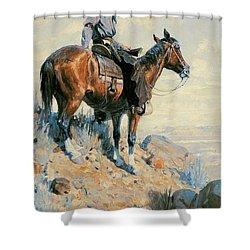 Sentinel Of The Plains Shower Curtain by William Herbert Dunton