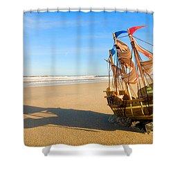 Ship Model On Summer Sunny Beach Shower Curtain by Michal Bednarek