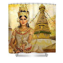 South East Asian Art Shower Curtain by Corporate Art Task Force
