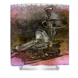 Sterling Silver Scrap Shower Curtain by Gunter Nezhoda