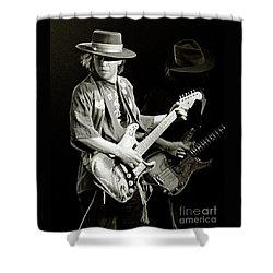 Stevie Ray Vaughan 1984 Shower Curtain by Chuck Spang
