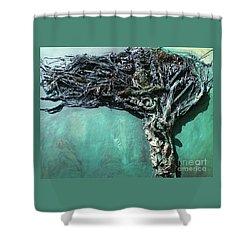 The Greenman Shower Curtain by Ann Fellows