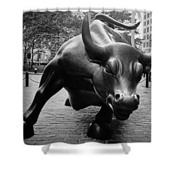 The Wall Street Bull Shower Curtain by Pixabay