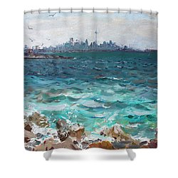Toronto Skyline Shower Curtain by Ylli Haruni