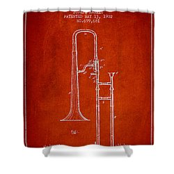 Trombone Patent From 1902 - Red Shower Curtain by Aged Pixel