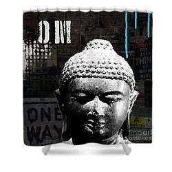 Urban Buddha  Shower Curtain by Linda Woods