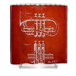 Cornet Patent Drawing From 1901 - Red Shower Curtain by Aged Pixel