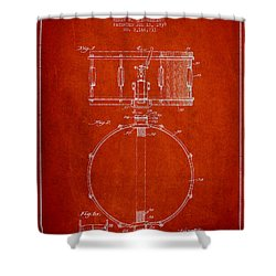 Snare Drum Patent Drawing From 1939 - Red Shower Curtain by Aged Pixel