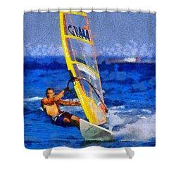 Windsurfing Shower Curtain by George Atsametakis