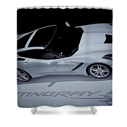2014 Chevy Corvette  Bw Shower Curtain by Rachel Cohen