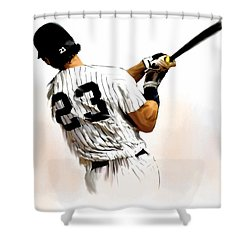 23   Don Mattingly  Shower Curtain by Iconic Images Art Gallery David Pucciarelli