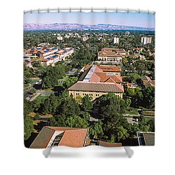 Aerial View Of Stanford University Shower Curtain by Panoramic Images