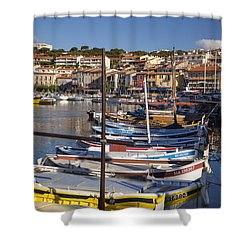 Cassis Boats Shower Curtain by Brian Jannsen