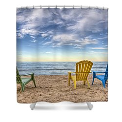 3 Chairs Shower Curtain by Scott Norris