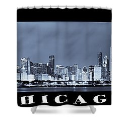 Chicago Skyline At Night Shower Curtain by Sebastian Musial
