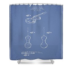 Electric Violin Patent Drawing From 1960 Shower Curtain by Aged Pixel