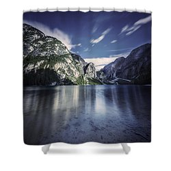 Lake Braies And Dolomite Alps, Northern Shower Curtain by Evgeny Kuklev