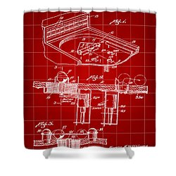 Pinball Machine Patent 1939 - Red Shower Curtain by Stephen Younts