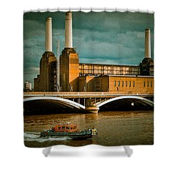 Pink Floyd Pig At Battersea Shower Curtain by Dawn OConnor