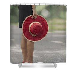 Red Sun Hat Shower Curtain by Joana Kruse